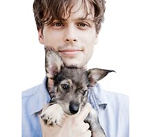 Matthew Gray Gubler Holding Puppy by miamulin57