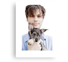 Matthew Gray Gubler Holding Puppy Canvas Print