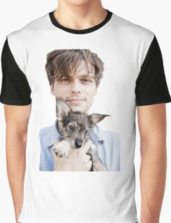 Matthew Gray Gubler Holding Puppy Graphic T-Shirt