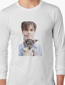 Matthew Gray Gubler Holding Puppy Long Sleeve T-Shirt