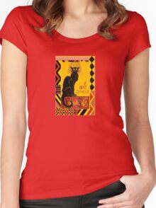 Le Chat D'Amour With Ethnic Coloured Border Women's Fitted Scoop T-Shirt