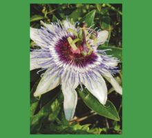 Passiflora Close Up With Garden Background Kids Tee