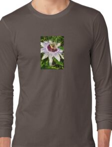 Passiflora Close Up With Garden Background Long Sleeve T-Shirt
