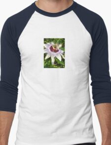 Passiflora Close Up With Garden Background Men's Baseball ¾ T-Shirt