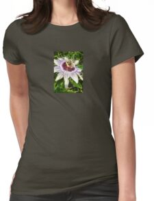 Passiflora Close Up With Garden Background Womens Fitted T-Shirt
