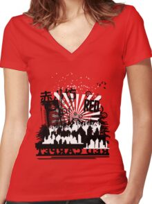 Urban color Red Women's Fitted V-Neck T-Shirt