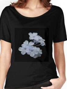 Pale Blue Plumbago Isolated on Black Background Women's Relaxed Fit T-Shirt