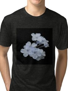 Pale Blue Plumbago Isolated on Black Background Tri-blend T-Shirt