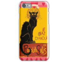 Le Chat D'Amour With Heart And Cherub Border iPhone Case/Skin