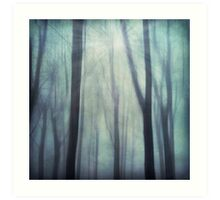 abstract trees in fog Art Print