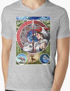 Princess Mononoke Mens V-Neck T-Shirt