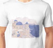 Santorini, the Greek jewel of Aegean Sea sepia Unisex T-Shirt