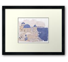Santorini, the Greek jewel of Aegean Sea sepia Framed Print
