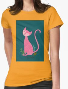Pink kitten on a green color Womens Fitted T-Shirt