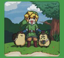Legend of Zelda Skyward Sword: Link and Kikwis by Zelbunnii