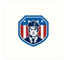 American Security Guard Flag Shield Retro Art Print