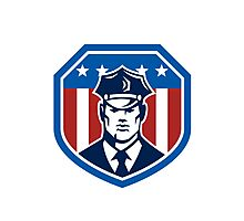 American Security Guard Flag Shield Retro Photographic Print