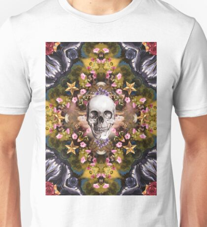 Floral abstract rennaisance collage with a skull Unisex T-Shirt