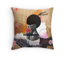 Contemporary fashionistas floral collage Throw Pillow