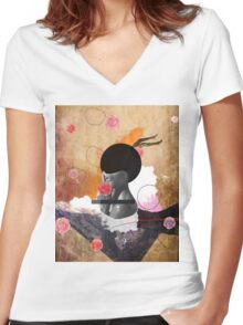 Contemporary fashionistas floral collage Women's Fitted V-Neck T-Shirt