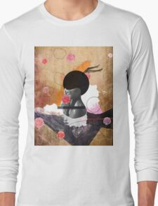 Contemporary fashionistas floral collage Long Sleeve T-Shirt