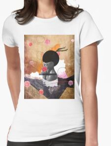 Contemporary fashionistas floral collage Womens Fitted T-Shirt