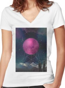 Intergalactic bridges Women's Fitted V-Neck T-Shirt