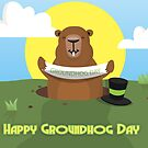 Groundhog day greeting card with groundhog holding a banner by Moonlake