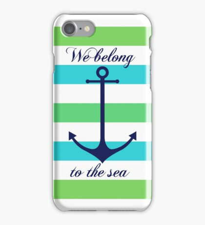 Blue anchor on blue and green navy stripes marine style iPhone Case/Skin