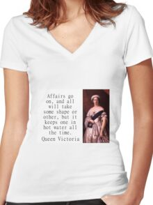 Affairs Go On - Queen Victoria Women's Fitted V-Neck T-Shirt