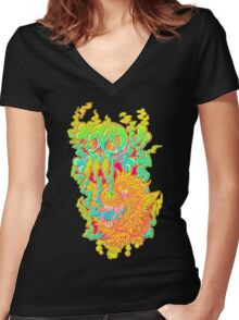 PsychO Wolf  Women's Fitted V-Neck T-Shirt