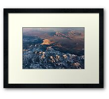 Slow Sunrise Over the High Desert - Mojave With a Dusting of Snow Framed Print