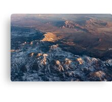 Slow Sunrise Over the High Desert - Mojave With a Dusting of Snow Canvas Print