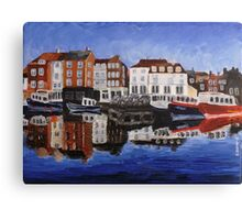Whitby Harbour Reflection Canvas Print