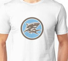 Shark Swimming Up Woodcut Retro Unisex T-Shirt