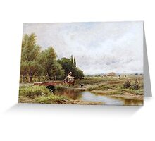 Henry Parker - Landscape with a Girl Watering a Horse.  Greeting Card