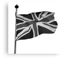 Great Britain flag, union jack Black & White Canvas Print