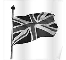 Great Britain flag, union jack Black & White Poster