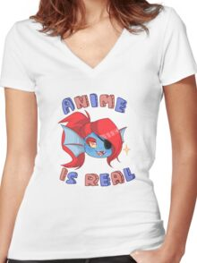 Undyne - Anime is real Women's Fitted V-Neck T-Shirt
