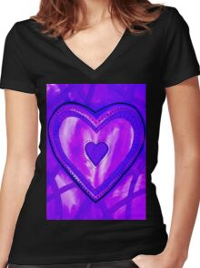 I Love Purple Women's Fitted V-Neck T-Shirt