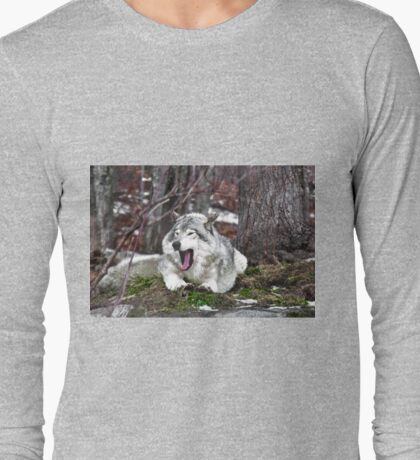 Just Yawning - Timber Wolf Long Sleeve T-Shirt
