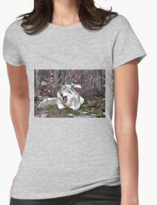 Just Yawning - Timber Wolf Womens Fitted T-Shirt