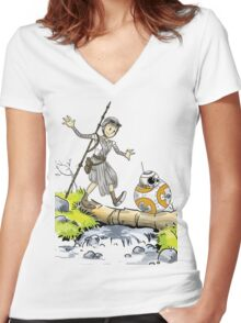 Star Wars The Force Awakens / Calvin and Hobbes- BB-8 and Rey Women's Fitted V-Neck T-Shirt