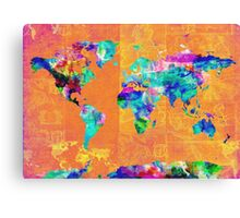 world map orange Canvas Print