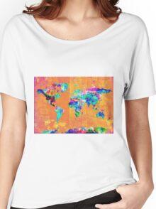 world map orange Women's Relaxed Fit T-Shirt