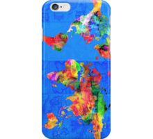 world map blue iPhone Case/Skin
