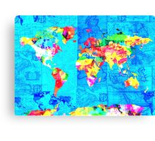 world map collage Canvas Print
