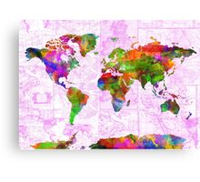world map collage 2 Canvas Print