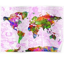 world map collage 2 Poster