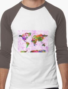 world map collage 2 Men's Baseball ¾ T-Shirt